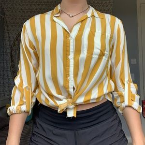 yellow and white stripped button up💛